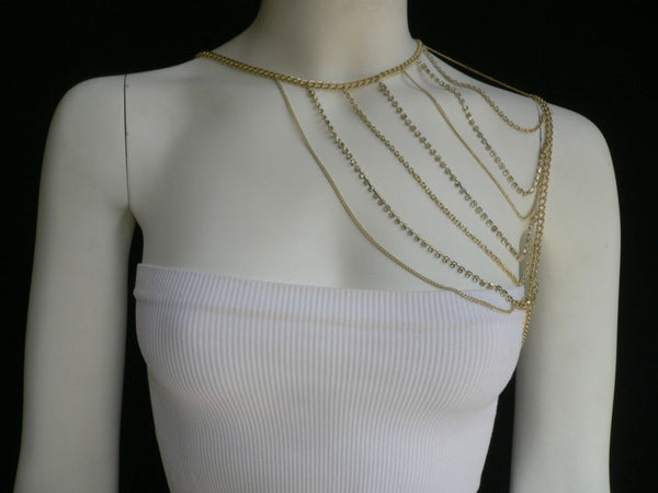 New Women Casual Gold Metal Long Chain One Side Shoulders Body Chain Necklace Fashion Jewelry Clear Rhinestones - alwaystyle4you - 7