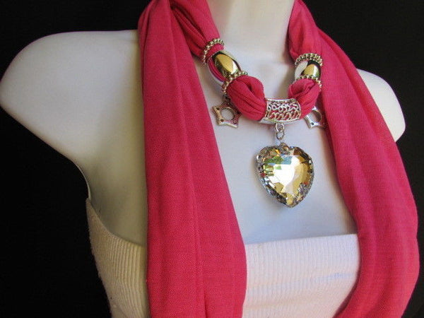 Pink Bowen Soft Fabric Scarf Necklace Silver Big Heart Crystal Stars Pendant New Women Fashion - alwaystyle4you - 14