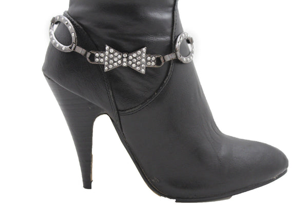 Silver Gunmetal / Pewter Metal Boot Chains Bracelet Bow Oval Anklet Bling Shoe Charm New Women Western - alwaystyle4you - 7