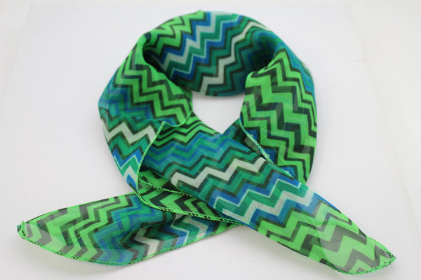 Bright Green Neck Scarf Fabric Black Chevron Print Pocket Square New Women Accessories Fashion - alwaystyle4you - 8