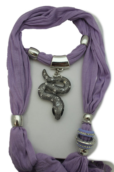 Women Lavender Fashion Scarf Fabric Silver Metal Snake Pendant Necklace Lilac - alwaystyle4you - 2