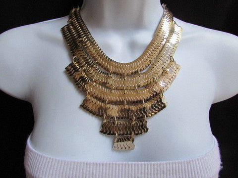 Wide 6 Strands Gold Links Chains Metal Statement Necklace + Matching Earrings Set New Women - alwaystyle4you - 2