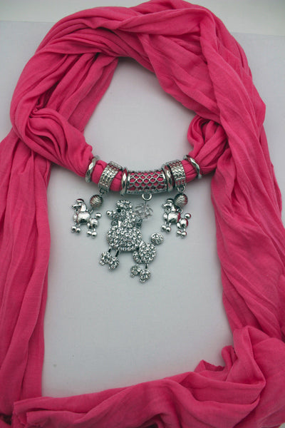 Blue, Black, L. Pink, Pink Fuscia Soft Fabric Scarf Silver Metal Poodle Dog Pendant New Women Fashion - alwaystyle4you - 11