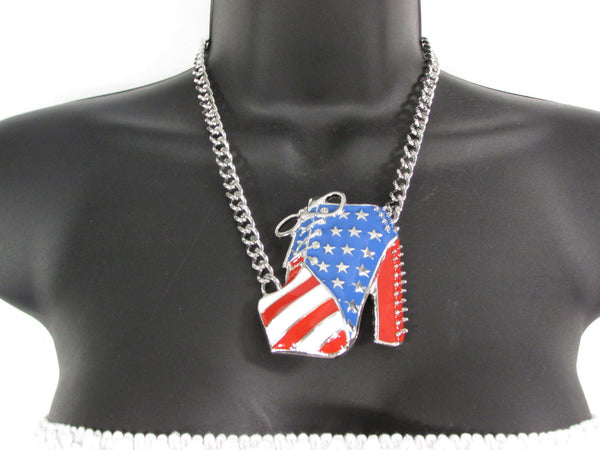Large Metal High Heels Shoes Pendant Fashion Chains Gold / Silver Rhinestones American Flag USA Stars Necklace + Earrings Set - alwaystyle4you - 7