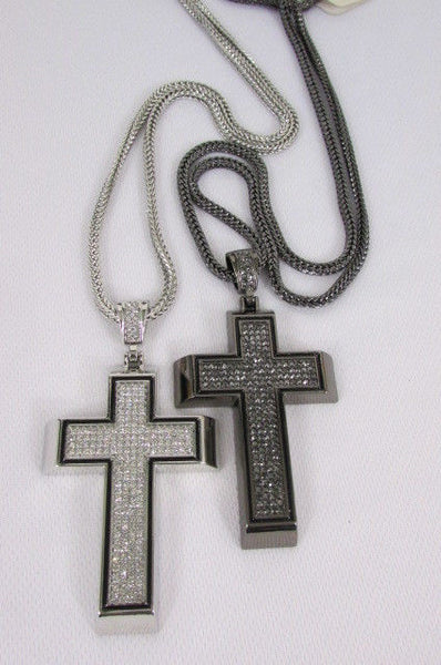 Pewter / Silver Metal Chains Long Necklace Boarded Cross Pendant New Men Hip Hop Fashion - alwaystyle4you - 7