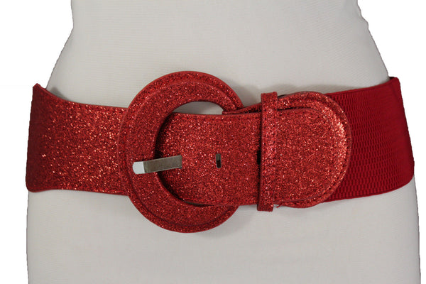 Sparkling Glitter Red Belt Elastic Fabric Hip Waist Wide New Women Fashion M L XL
