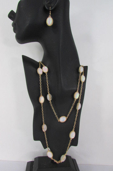 "Extra Long Gold Chains Shiny Cream Beads Fashion Necklace + Earrings Set New Women 26"" - alwaystyle4you - 6"