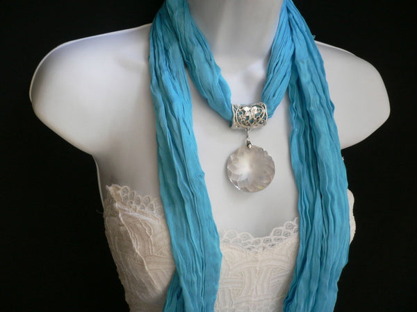 Light Blue Necklac Scarf Big Silver Crystal Flower Pendant Glass New Women Fashion - alwaystyle4you - 5