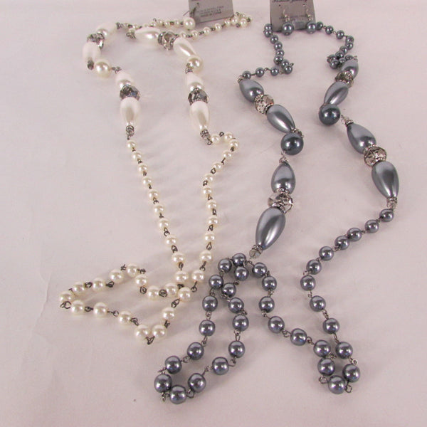 Long Imitations Pearls Necklace Small Gray Beads Beige Silver Color + Earrings Set New Women Fashion - alwaystyle4you - 2