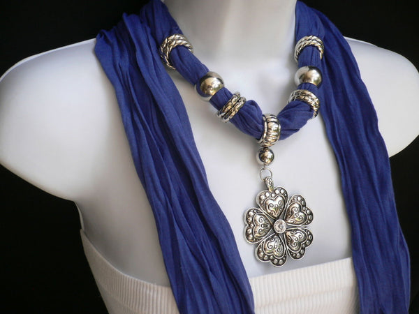 Blue Light Blue Black Dark Brown Light Pink Coral White Soft Scarf Necklace Heart Flower Silver Pendant New Women Fashion 6 Different Colors - alwaystyle4you - 14