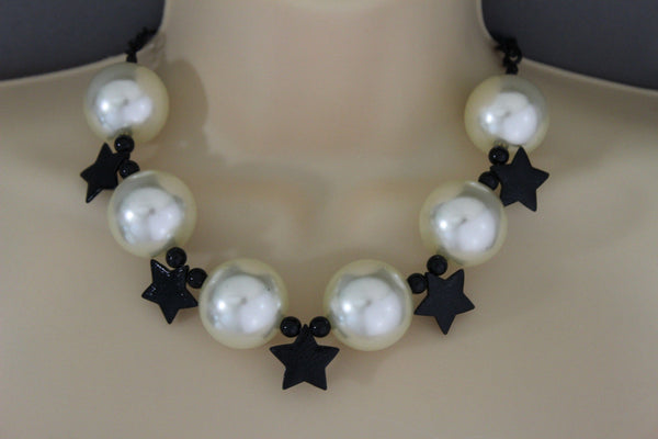 Black / Silver / Gold / Red / White Metal Stars Ball Beads Short Ivory Necklace + Earring Set New Women Fashion Jewelry - alwaystyle4you - 6