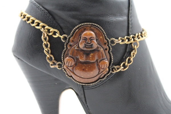 Gold Metal Boot Chain Bracelet Fat Buddha India Anklet Bohemian Shoe Charm New Women - alwaystyle4you - 5