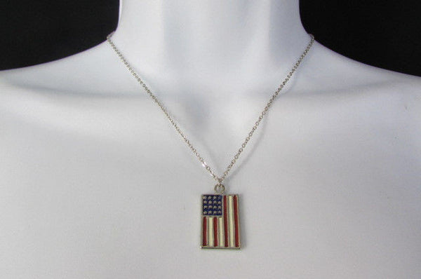 USA American Flag Star/Square/Heart Silver Metal Necklace + Matching Earring Set New Women - alwaystyle4you - 27
