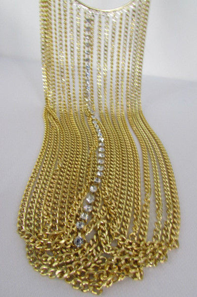 Gold Metal Choker Extra Long Chains Statement Necklace Hot Rhinestones New Women Fashion - alwaystyle4you - 10