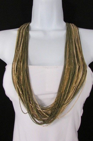 Silver Black / Antique Gold Thin Multi Chains Long Necklace + Earrings Set New Women Fashion - alwaystyle4you - 20