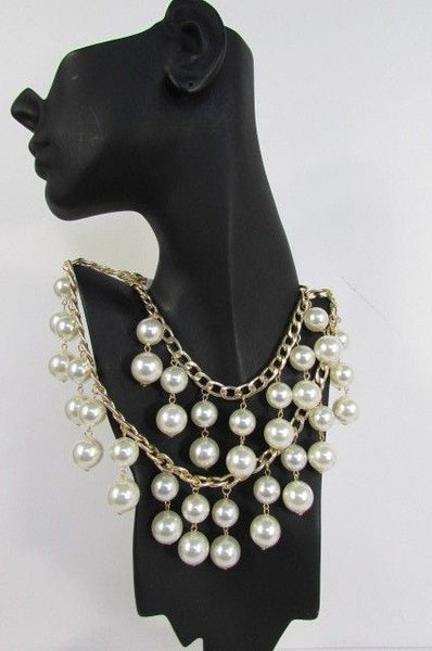 Gold Metal Long Double Chains 2 Strands Big Pearl Beads New Women - alwaystyle4you - 12