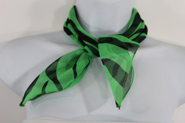 Green Neck Scarf Fabric Black Zebra Animal Print Pocket Square New Women Fashion - alwaystyle4you - 2