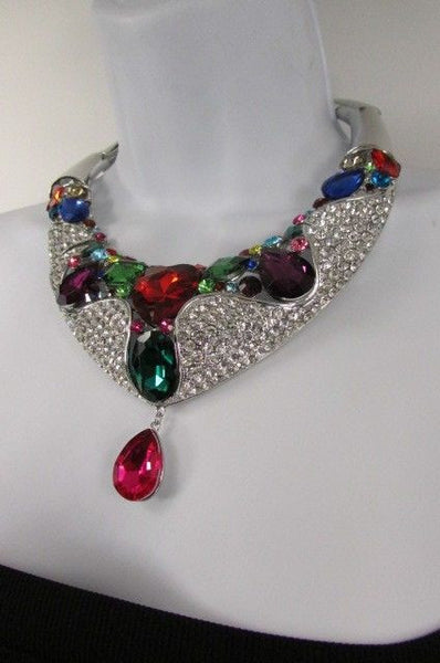 Silver Metal Multicolor Alloy Charm Bib Necklace New Women Fashion Jewelry - alwaystyle4you - 4