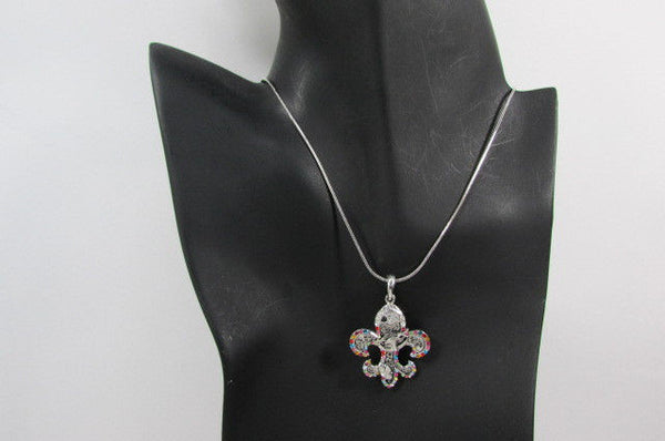 Silver Metal Fleur De Lis Lily Flower Bull Colorfull Rhinestones/ Silver Necklace New Women Fashion - alwaystyle4you - 2