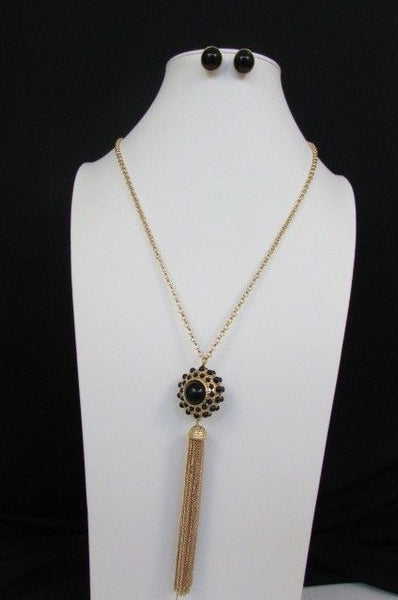 "Gold Metal Long Chains Big Ball Black Dots Fringe Fashion Necklace + Earrings Set New Women 26"" - alwaystyle4you - 11"