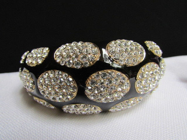 Gold Metal Wide Bracelet Black Animal Print Silver Rhinestone New Women Fashion Jewelry Accessories - alwaystyle4you - 4