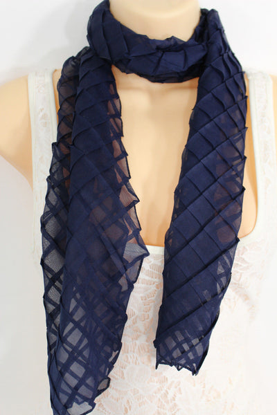 Blue Purple Green White Brown Long Neck Scarf Wrap Geometric Mosaic Plaid Women Accessories