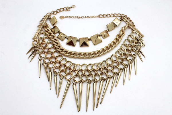 Gold / Black Gold Long Metal Chain Strand Spikes Charm Necklace + Earring Set New Women Fashion Jewelry - alwaystyle4you - 2