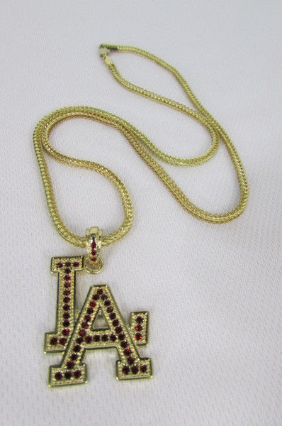 "Gold Silver Pewter Metal Chains 25"" Long Necklace Pewter Big LA Pendant New Men Fashion - alwaystyle4you - 15"