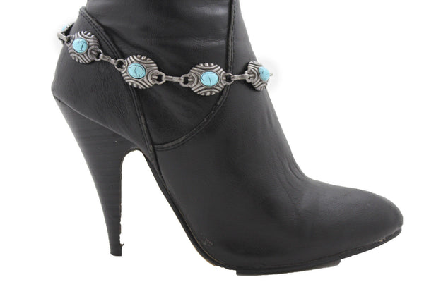 Silver Turquoise Blue Anklet Shoe Charm Boot Metal Chains Bracelet New Women Western Fashion - alwaystyle4you - 2