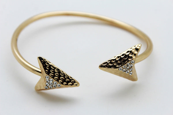 Gold Metal High Arm Cuff Bracelet Skinny Arrow Wrap Around New Women Fashion Jewelry - alwaystyle4you - 2