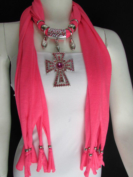 New Women Soft Fabric Dark Brown / Pink Scarf Necklace Western Rhinestones Cross Pendant - alwaystyle4you - 2