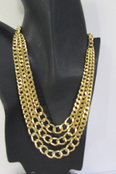 Gold Three Thick Chains Links Strands Necklace Earrings Set New Women Trendy Fashion Accessories
