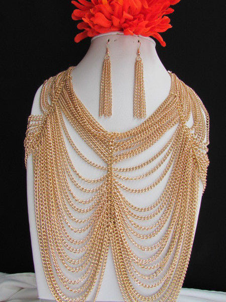 Long Gold / Silver Two Elegant Necklaces + Earring Set Thin Links New Women Fashion Jewelry - alwaystyle4you - 3