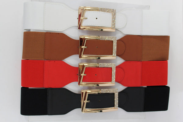 Black / Red / White / Brown Faux Leather Tie Hip Waist Belt Square Gold Rhinestones Buckle New Women Fashion Accessories M L - alwaystyle4you - 1