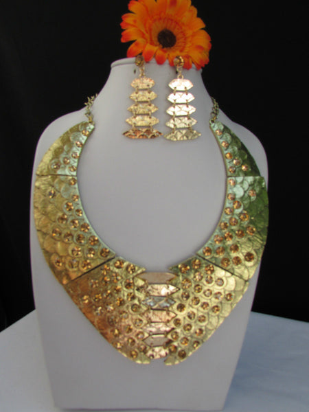 Gold /  Silver Metal Plates Snake Skin Rhinestones Necklace + Earrings Set New Women Fashion - alwaystyle4you - 3