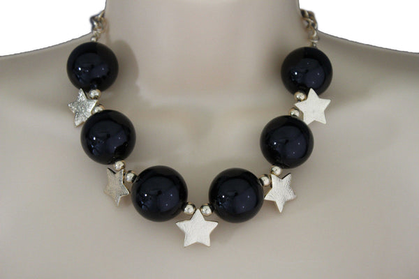 Black Silver Gold Red White Metal Stars Ball Beads Short Ivory Necklace Earring Set Jewelry