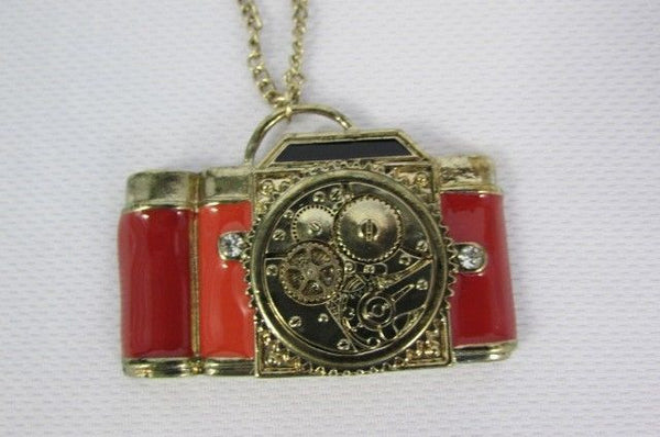 Old Fashion Collector Camera Red Orange Long Rusty Gold New Women Necklace - alwaystyle4you - 7