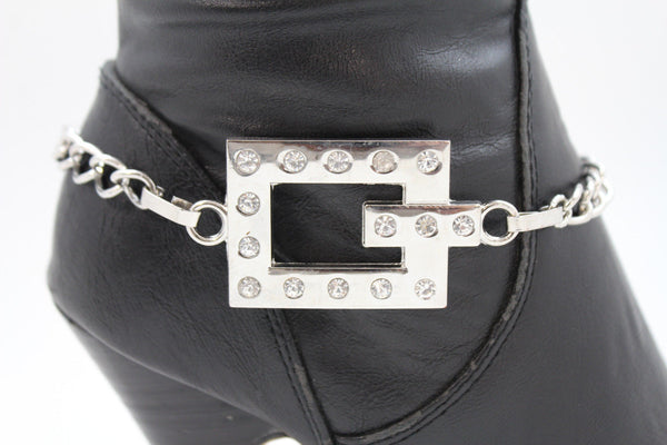 Silver Boot Chains Bracelet Beaded Square Anklet Shoe Bling Charm New Women Fashion Accessories - alwaystyle4you - 4