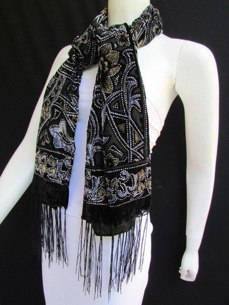 Women Scarf Black Multi Colors Big Flowers Faux Velvet European Stylish Shades - alwaystyle4you - 2