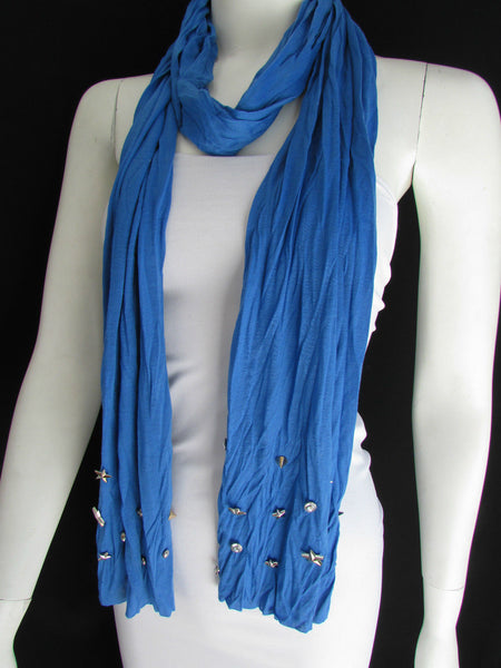 New Women Soft Fabric Fashion White / Blue /  Gray / Black Scarf Long Necklace Silver Metal Stars Studs - alwaystyle4you - 14