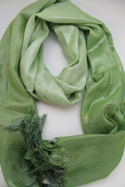 Green Neck Scarf Long Soft Fabric Tie Wrap Classic Bright Shiny New Women Jewelry Accessories - alwaystyle4you - 2