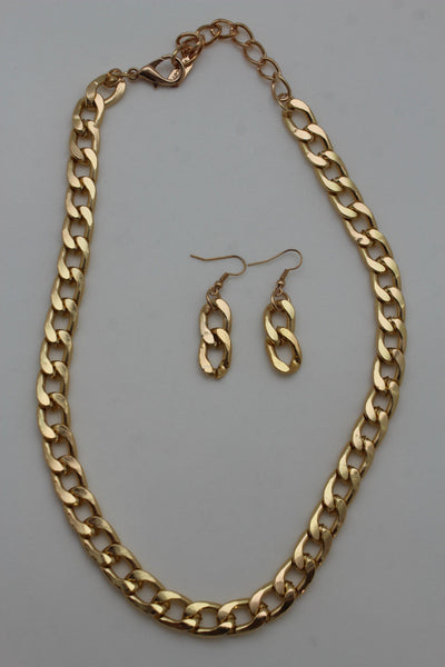Gold Silver Plastic Chain Link Light Jewelry Short Necklace + Earring Set New Women Fashion - alwaystyle4you - 7