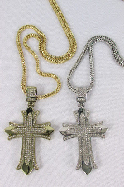 "Silver / Gold Metal Chain 35"" Long Fashion Necklace  Large Cross Pendant New Men - alwaystyle4you - 9"