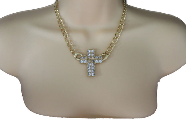 Short Gold / Silver Metal Chains Cross Pendant Necklace + Earring Set New Women Fashion Jewelry - alwaystyle4you - 3