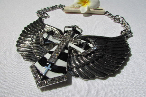 Big Bow Zebra Angel Wings Pendant Black Cross Stripes Rhinestones New Women - alwaystyle4you - 4