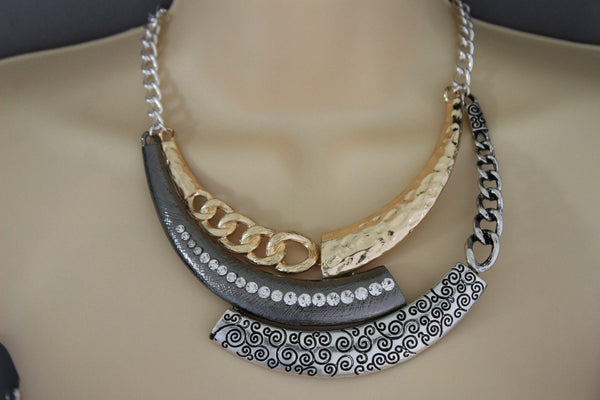 Gold Black / Silver Black Metal Plate Half Moon Necklace Chains + Earrings Set New Women Fashion Jewelry - alwaystyle4you - 2