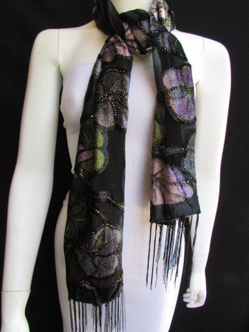 Black Long Fabric Neck Scarf Metallic Big Flowers Faux Velvet New Women Fashion Fashion - alwaystyle4you - 1