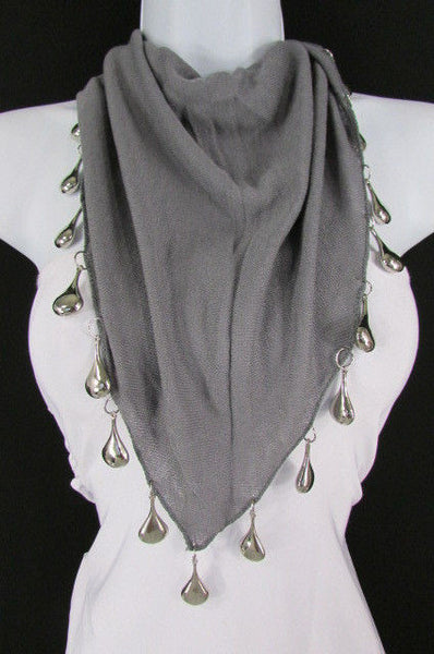 Solid New Women Scarf Fashion Necklace Gray Short Fabric Neck Multi Silver Drops Beads - alwaystyle4you - 2