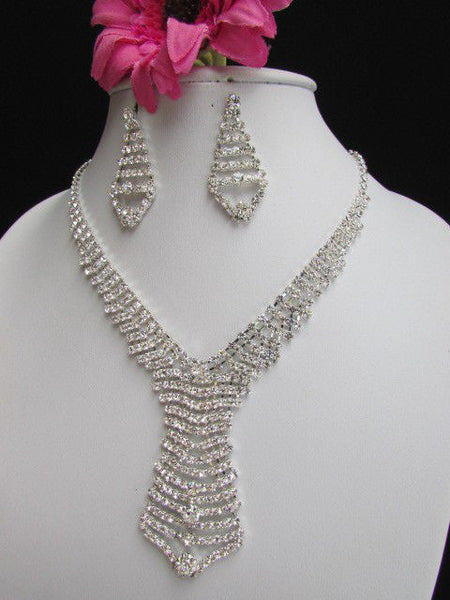 Silver Metal Tie Geometric Design Rhinestone Necklace + Earrings Set  New Women Fashion - alwaystyle4you - 2