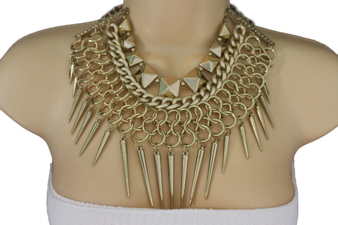 Gold / Black Gold Long Metal Chain Strand Spikes Charm Necklace + Earring Set New Women Fashion Jewelry - alwaystyle4you - 1